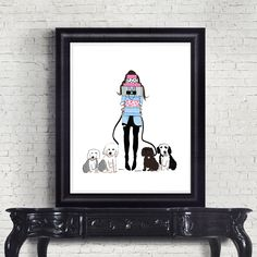 Download Gift Print, Girl With Presents and Sheep Dogs Digital Download, Gift Print, Chic Fashion Print, Planner Gift Art Birthday Gifts For Best Friend, Best Friend Gifts, Gifts For Friends, Nyc Drawing, Promotion Tools, Planner Dashboard, Sheep Dogs, Fashion Prints, Presents