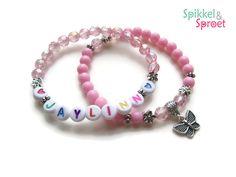 Armbanden Cadeauset Naam - Bedeltje Roze Kindersieraden