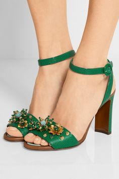 DOLCE & GABBANA Embellished lizard-effect leather sandals