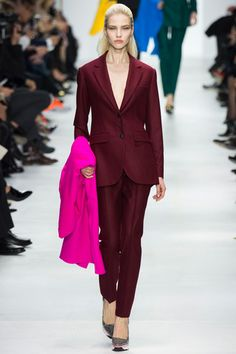 Oooh, sleek Dior burgundy suit sans shirt. J'adore and get in my closet! Doesn't hurt that the supremely versatile beauty, Sasha Luss, is rocking it.  Christian Dior Fall 2014 Ready-to-Wear Collection Slideshow on Style.com