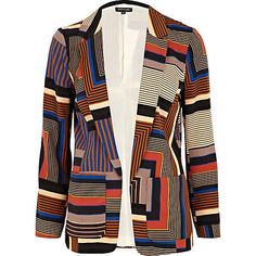 brown graphic print blazer - blazers - coats / jackets - women - River Island