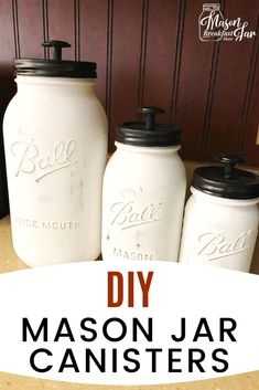 Easy DIY Mason Jar Canisters - DIY Easy Mason Jar Projects - Don't toss your Mason jars! Use them to add decorative organization to your counter space. Mason Jar Sconce, Hanging Mason Jar Lights, Mason Jar Bathroom, Diy Bathroom, Mason Jar Lighting, Mason Jar Kitchen Decor, Jars Decor, Pot Mason Diy, Mason Jar Gifts