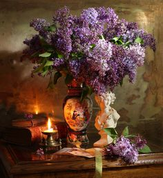 Still-life with lilac, bust and candles - Andrey Morozov Foto Still Life, Still Life Photos, Still Life Art, Art Floral, Floral Watercolor, Baroque Painting, Lilac Bushes, Raindrops And Roses, Still Life Photography