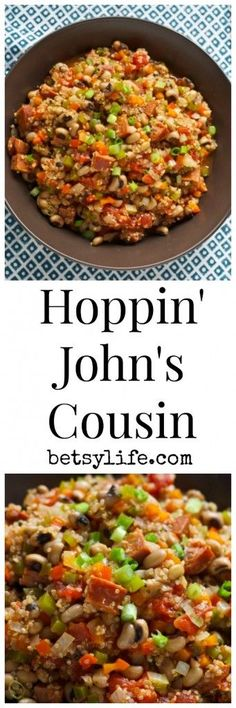 Hoppin' John's Cousin recipe. Black eyed peas bring good luck for the...