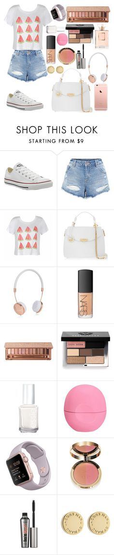 """watermelon"" by zoemoecker ❤ liked on Polyvore featuring Converse, Ally Fashion, Versace, Frends, NARS Cosmetics, Urban Decay, Bobbi Brown Cosmetics, Essie, Eos and Benefit"