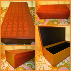 VTG 1980s Retro Typography Font Orange Xerox Systems Products Newstapes Box Case #Xerox