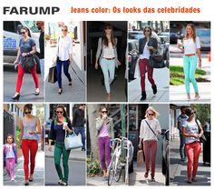 Ontem, trouxemos o estilo casual de celebridades usando jeans. Hoje, que tal conferirmos como grandes estrelas usam o jeans colorido?