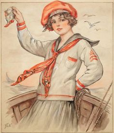 WWI era illustration of a sailor girl illustrated by Florence Pearl for Hearth & Home magazine cover. Vintage Sailor, Vintage Ladies, Vintage Postcards, Vintage Images, Vintage Cards, Sailor Illustration, Boston Museums, Art Students League, Art Deco