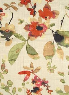 """03367 Spice - Vern Yip Fabric Collection - Up the roll watercolor floral fabric. Content; 55% Linen, 45% Cotton. Perfect for bedding, drapery or light use upholstery. Repeat H 27"""" x V 25.25"""". 30,000 double rubs. 54"""" wide. Please note; 12 yard minimum."""