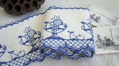 French vintage shelf border - blue and white - fruits bowl design - french country style. €16.50, via Etsy.