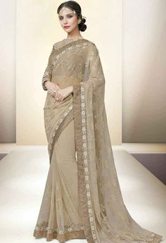Beige Net Designer Saree..@ fashionsbyindia.com #designs #indian #fashion #womens #style #cloths #clothes #stylish #casual #fashionsbyindia #punjabi #suits #wedding #saree #chic #elegance #beauty #outfits #fantasy #embroidered #dress #PakistaniFashion #Fashion #Longsuit #FloralEmbroidery #Fashionista #Fashion2015 #IndianWear #WeddingWear #Bridesmaid #BridalWear #PartyWear #Occasion #OnlineShopping #sari