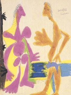 Pablo Picasso, 1969 Homme et femme nus debout