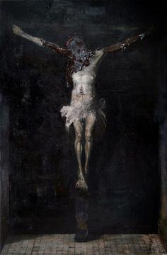 Nicola Samorì, Interno Assoluto, Oil on linen, Art Blanc, Art Noir, Arte Horror, Horror Art, Art Macabre, Art Sinistre, Arte Punk, Renaissance Kunst, Arte Obscura