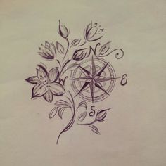 38 Best Flower Compass Tattoo Images Color Tattoo Compass Tattoo