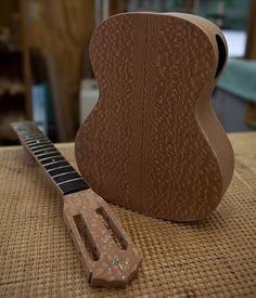Artwork of the ukulele luthier, Custom Concert Ukulele Construction. Lacewood. from NC luthier Jay Lichty