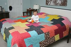 FITF Giant Plus Quilt - made from eight inch squares, so only 1/4 yard of each print for five squares
