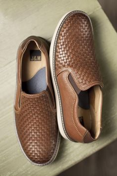 Light on Your Feet: Johnston & Murphy's woven leather adds a touch of texture to the lightweight sole.