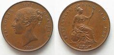 1853 England GREAT BRITAIN Penny 1853 ornamental trident VICTORIA copper XF/XF+! # 95223 EF/EF+