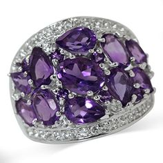 393ct Natural Amethyst White Topaz Gold Plated 925 Sterling Silver Cluster Cocktail Ring Size 8 >>> Please continue read.