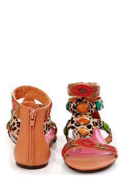 Leopard Print Beaded Sandals
