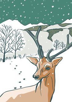 Calendar illustration, Deer Illustration by Tanja Di Maria Illustrator, Deer Illustration, Moose Art, Calendar, Birds, Flowers, Animals, Musical Composition, Switzerland