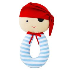 Pirate Grab Rattle (Blue) by Alimrose. Super cute.