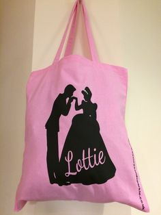 Baby Pink Canvas Cinderella Happily Ever After Bag - CUSTOMISED WITH NAME OF YOUR CHOICE £15  www.treasuresandsparkle.co.uk