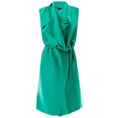 LANVIN Draped satin wrap dress ($583) ❤ liked on Polyvore featuring dresses, vestidos, платья, day dresses, robe, green, green cocktail dress, evening dresses, green dress and special occasion dresses