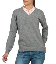 Grey V Neck Jumper   Mens and Womens   Pure Lambswool V Neck Sweater