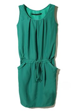 @Josée Brunet Simonson casual Style Drawstring Green Dress
