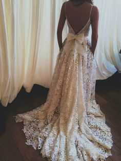 Lace Wedding dress Backless Wedding Dress Boho by StunningDress, i love the way this dress flows and the back of it in general. not so crazy about the overall pattern