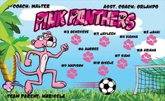 Pink Panthers B53896  digitally printed vinyl soccer sports team banner. Made in the USA and shipped fast by BannersUSA.  You can easily create a similar banner using our Live Designer where you can manipulate ALL of the elements of ANY template.  You can change colors, add/change/remove text and graphics and resize the elements of your design, making it completely your own creation.