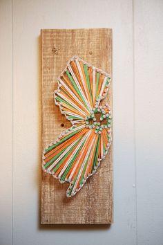 NJ Driftwood String Art Irish with shamrock by CoastalCreationsNJ