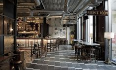 Dishoom (Shoreditch, UK) is a Bombay cafe. It's designed by Russel Sage studio. The studio creates interiors that are timeless, beautiful, hardwearing & functional. Can't find more info about the design studio.