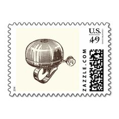 Vintage Bicycle Bell Postage. This great stamp design is available for customization or ready to buy as is. Of course, it can be sent through standard U.S. Mail. Just click the image to make your own!