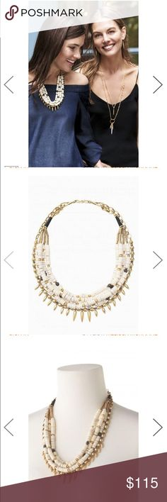 """NEW! Stella & Dot Nomad Statement Necklace Bold and versatile. Vintage gold edgy drops contrast against a mix of hand-strung neutral and hematite beads. Individual gold strand detaches to create a beautiful neutral beaded necklace, or wear the vintage gold strand alone.   22"""", 24 1/2"""" Vintage Gold Plating S hook closure Lobster clasp adjustability Stella & Dot Jewelry Necklaces"""