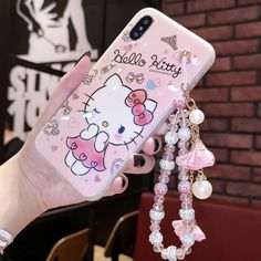 Cute hello kitty diamond bracelet strap case cover for iphone xs max xr 7 8 Kawaii Phone Case, Girly Phone Cases, Iphone Cases For Girls, Phone Cases Iphone6, Modelos Iphone, Hello Kitty Collection, Hello Kitty Wallpaper, Strip, Mobile Covers