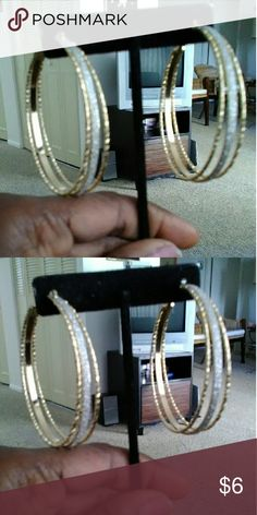 Nice gold and silver three layer earring New earring with sliver glitter in the middle hoop earring Jewelry Earrings