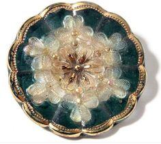 Victorian Czech fancy gold gilt lacy glass flower button