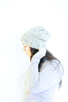 Knit Slouchy Hat / Winter Toque / Grey Marble by daynightrose on Etsy