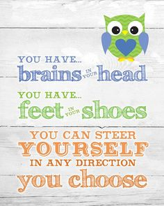 Dr. Suess Quote Owl Art by EverydayArtByJoan on Etsy, $10.00