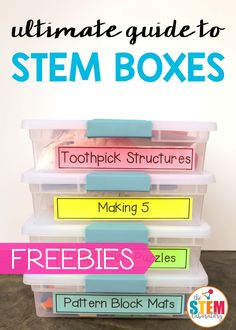 Whether you're creating Makerspaces, STEM centers or early finisher activities, these tips and tricks make it so easy to pull together effective and engaging STEM boxes in your primary classroom or homeschool. P.S. Grab our popular Endless STEM Challenge Bundle HERE!  Find out tons of sanity saving teacher hacks. And, to help you get started fast, grab a set of free editable printables including: –> Box labels to