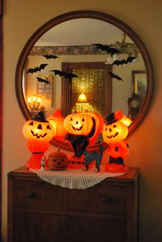 My vintage lighted plastic pumpkin collection