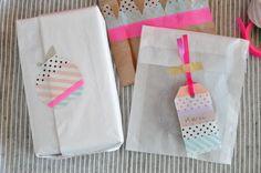washi masking tape gift wrap