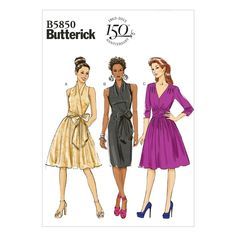 Sewing Patterns Butterick 5850 Misses' Gorgeous Day Or Evening Dress Pattern Or & Garden Dress Sewing Patterns, Vintage Sewing Patterns, Skirt Patterns, Clothes Patterns, Sundress Pattern, Coat Patterns, Blouse Patterns, Fabric Patterns, Dress With Bow