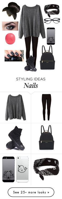 """sorry, I haven't been motivated lately"" by littlemrsirwin on Polyvore featuring Converse, Henri Bendel, claire's, Boohoo and Eos"