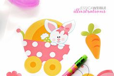 SALE Baby Bunny Girls Cute Digital Clipart by JWIllustrations