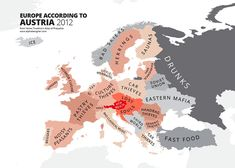 """atlasofprejudice:""""Europe According to Austria from Atlas of Prejudice: The Complete Stereotype Map Collection by Yanko Tsvetkov. Funny Maps, Historical Maps, Art Store, Bored Panda, Austria, Martin Luther, Around The Worlds, Martini, Culture"""