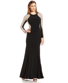Xscape Long-Sleeve Studded Colorblock Gown