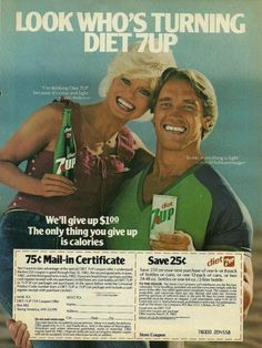 theactioneer:  Arnold and Loni Anderson Diet 7-Up ad (1982)